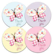 Thank you stickers - Butterfly design - 30mm or 60mm diameter - 4 pastel colours