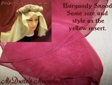 * Costume REN SCA Snood Head Gear (Veil Only) RENAISSANCE Burgundy Sheer 24 x 42