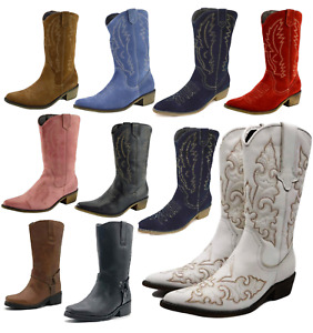 Ladies Cowgirl Cowboy Western Boots Mid Calf Genuine Leather Suede Line Dancing