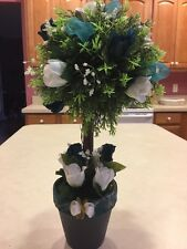 Artificial Silk White Teal Blue Green Faux Roses Pompom Cypress Topiary Tree