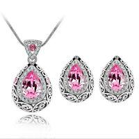 Women's Crystal Chain Necklace Earrings Pendant Water Drop Set Wedding Party