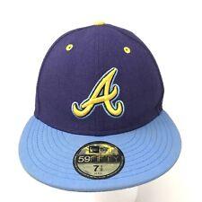 New Era 59Fifty Baseball Hat Size 7-1/8 Blue Yellow Atlanta Braves MLB