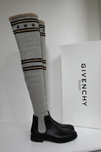 New sz 10 / 41 Givenchy Over the Knee Black Rubber Silver Sock Tall Boot Shoes