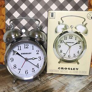 Crosley Vintage Style Alram Clock Silver Tone Battery Twin Bell