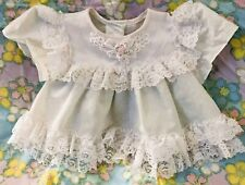 Infant Girl Vintage Dress White Pink Roses Lace Trim Sz 0-6 Mos USA Made