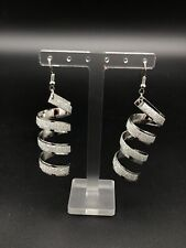 Fashion Silver Plated Spiral Style Sparkling Glitter Dangle Earrings