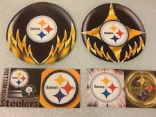 "2 BIG ROUND 5"" PITTSBURGH STEELERS GLOSSY STICKERS + 4 SQUARE STICKERS"
