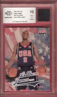 LEBRON JAMES WORN OLYMPIC JERSEY & FLEER USA ROOKIE card GRADED Beckett BCCG 10