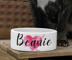Personalised Pet Bowl / Custom Name Pink Heart Design / Small Large / Cat Dog