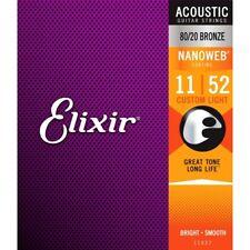 Elixir Nanoweb Coated 80/20 Bronze Acoustic Guitare Strings Custom Light 11-52