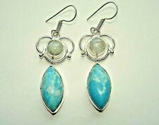 "925 Silver Hook Earrings 2"" Ab One-of-a-Kind Caribbean Larimar Rainbow Moonstone"