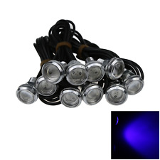 10x Blue Car Eagle Eye Rearview Mirror Blub Headlights Lamp 23MM 1 COB LED O503