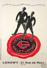 CAPPIELLO AFFICHE ANCIENNE VETEMENTS GILLET LAFOND 1934