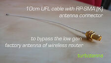 10cm U.FL 1.13 cable with RP-SMA-female Bulk Head RF WIRELESS ROUTER connector