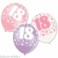 6 Assorted PINK Glitz 18th Birthday Printed Balloons