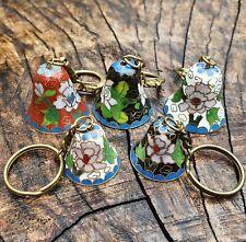 More details for miniature cloisonné bells - set of 5 - 2 sizes - mint