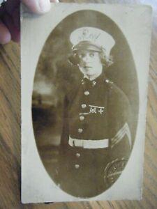 Girl in Dad's USMC Uniform ?? -  RPPC