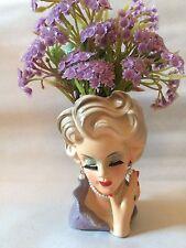 Lady Head Planter Vase Rubens Originals 482 Blonde Pearls Eyelashes Ring Vintage