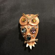 Vintage Enamel Gold Tone Owl With Multi-Color Stones Pin Brooch