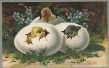 Silver Metallic Chicks Hatching Out Of Eggs Around Flowers No 18 Easter Postcard