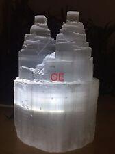 """8"""" Selenite Lamp White LED Selenite Tower Selenite Two Point Crystal Reiki Chakr"""