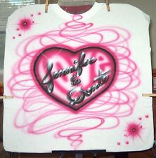 LOVE HEART Airbrushed T-shirt Personalized All Sizes Up To 6X
