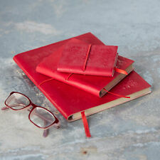 Embossed Leather Notebook, Red, 60 Unlined Recycled Paper Pages Journal, 3 Sizes
