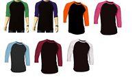 7 Pieces 3/4 Sleeve Raglan Baseball Mens Plain Tee Jersey T-Shirt Black Base M