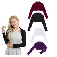Women Bolero Shrug Cardigan Crop Top Long Sleeves Open Front Sweater Jacket Coat