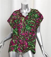 TUCKER Green+Pink Abstract Print Silk+Linen Short-Sleeve Shirt Top Blouse Tee L
