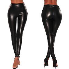 Pantaloni finta pelle Bagnato aderenti Ballo Discoteca Faux Leather Leggings S