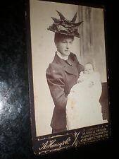Cdv old photograph woman spike hat by Honey at Chatham c1890s Ref 513(3)