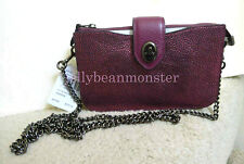 COACH 38934 TURNLOCK METALLIC LEATHER CROSSBODY MESSENGER BAG PURSE Berry NEW