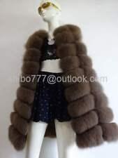Real Farm Fox Fur Vest Waistcoat Gilet Jacket Coat Women Warm clothing -Khaki