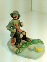 EMMETT KELLY Jr. Clown Hobo VINTAGE Figurine FLAMBRO FEEDING THE Duck POND DV6
