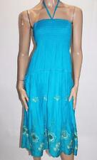 Unbranded Blue Gold Embroidered Midi Maxi Beach Dress Size S/M BNWT #SL13