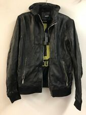 NWT Diesel Kipper Mens Black Leather Jacket Green Detailing XL MSRP $698