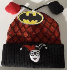 Harley Quinn Face Poms Beanie Cuff Knit Hat Dc Comics Nwt