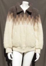 Vintage TUNDRA Ivory Icewool Wool Chunky Knit Zip Cardigan Sweater Jacket size M
