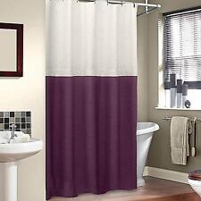 Veratex SoHo 100% Linen Fabric SHOWER CURTAIN ~ Ivory Merlot Burgundy Purple