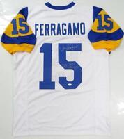 Vince Ferragamo Autographed White Pro Style Jersey W/ NFC Champs and JSA W Auth