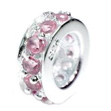 Sterling Silver Rondelle CZ Crystal Birthstone Bead for European Charm Bracelet