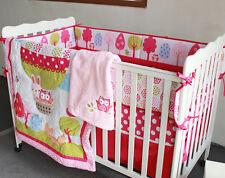 8 Piece Baby Bedding Set Balloon Owl Fox Nursery Quilt Bumper Sheet Crib Skirt