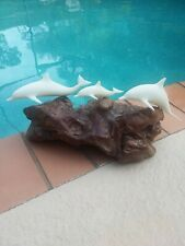 Vintage John Perry Large Burl Wood with Triple Dolphins Figurine