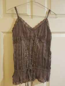 JAY JAYS sleeveless strappy chocolate brown top Sz S EUC