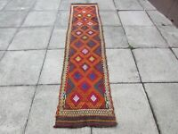 Kilim Vintage Traditional Hand Made Oriental Red Long Kilim Runner 253x57cm
