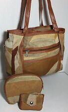 Brand new Patchwork 3pc leather shoulder bag purse organizer Handbag wallet