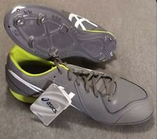 New ASICS Mens Baseball Cleats Size 12.5 Grey & White w/ Neon Green Trim NWOB