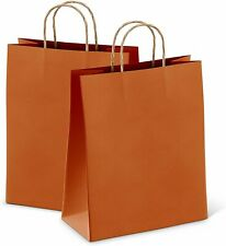 25ct Orange Kraft Paper Bag Party Shopping Gift Bags With Handles 8x475x105