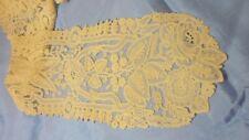"""19th Century Brussels Point De Gaz Bobbin Lace Lappett Ivory 50"""" Long, 5.5"""" Wide"""